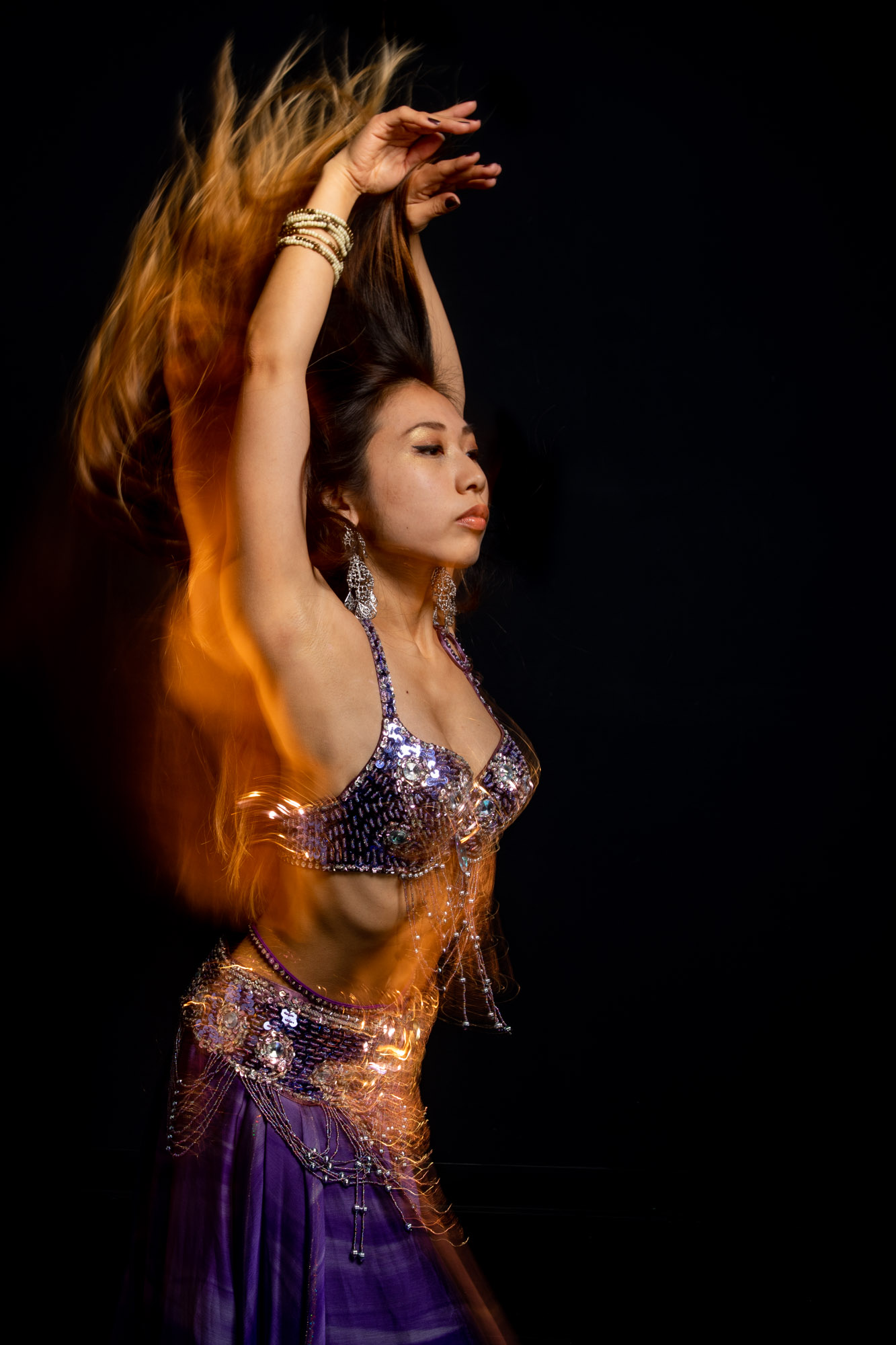 a belly dancer frozen in motion